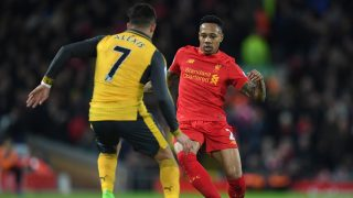 Arsenal's Chilean striker Alexis Sanchez (L) vies with Liverpool's English defender Nathaniel Clyne during the English Premier League football match between Liverpool and Arsenal at Anfield in Liverpool, north west England on March 4, 2017.  Liverpool won the game 3-1. / AFP PHOTO / Paul ELLIS / RESTRICTED TO EDITORIAL USE. No use with unauthorized audio, video, data, fixture lists, club/league logos or 'live' services. Online in-match use limited to 75 images, no video emulation. No use in betting, games or single club/league/player publications.  /