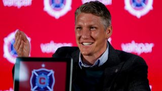 German footballer BastianSchweinsteiger sits during a press conference in Chicago, US, 29 March 2017. Schweinsteiger changed from Manchester United to Chicago for the team Chicago Fire and signed a one-year contract there. Photo: Ting Shen/dpa