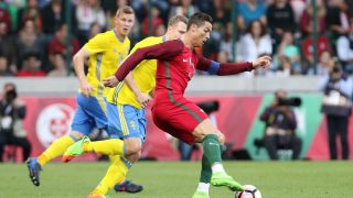 FUNCHAL, PORTUGAL - MARCH 28: Cristiano Ronaldo (R) of Portugal in action during a friendly football match between Portugal and Sweden at Barreiros Stadium in Funchal, Portugal on March 28, 2017. Stringer / Anadolu Agency