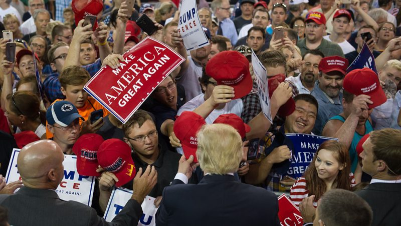 ERIE, PA - AUGUST 12: Republican candidate for President Donald Trump speaks to supporters at a rally at Erie Insurance Arena on August 12, 2016 in Erie, Pennsylvania, an industrial town in northwestern Pennsylvania. (Photo by Jeff Swensen/Getty Images)