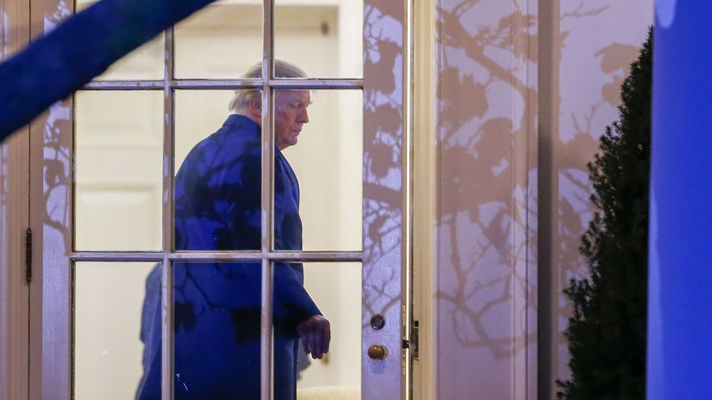 WASHINGTON, DC - MARCH 05: President Donald J. Trump enters the Oval Office on March 5, 2017 in Washington, DC. Trump is returning from a weekend at his Mar-a-Lago clu in Palm Beach. Florida. (Photo by Erik S. Lesser-Pool/Getty Images)