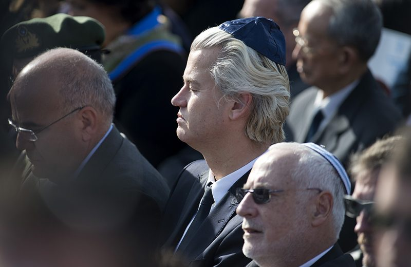 JERUSALEM, ISRAEL - JANUARY 13:  Dutch politician Geert Wilders attends the state memorial service for Israel's former Prime Minister Ariel Sharon at Israel's parliament, the Knesset, on January 13, 2014 in Jerusalem, Israel. A military ceremony for Ariel Sharon will be held in at Latrun before he is buried near Sycamore Farm, the former Prime Minister's residence, beside the grave of his wife Lili. Former PM Ariel Sharon's died on Saturday aged 85 in Tel Hashomer hospital near Tel Aviv and had been in a coma since January 4, 2006. (Photo by Michael Gottschalk/Photothek via Getty Images)