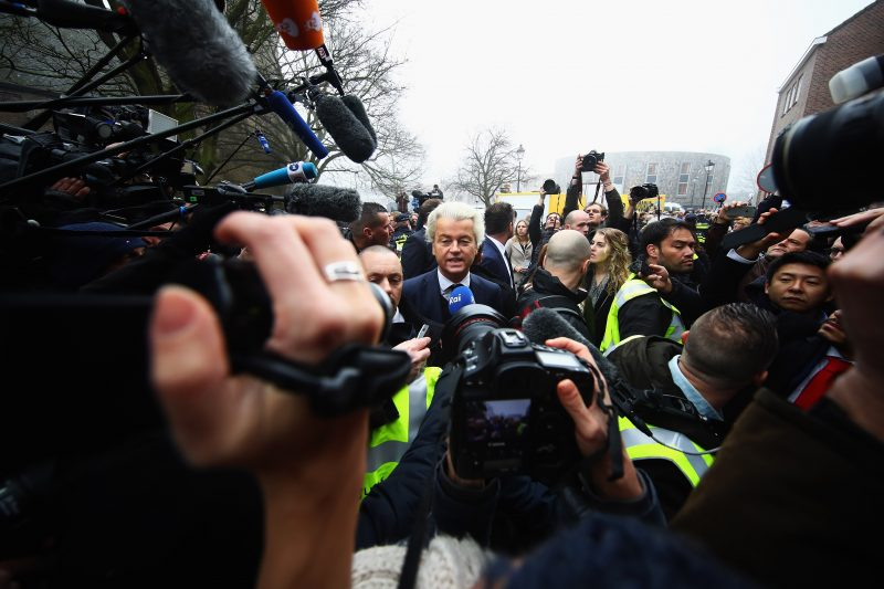 SPIJKENISSE, NETHERLANDS - FEBRUARY 18:  PVV Candidate, Geert Wilders speaks to the crowd, the media and shakes hands with supporters as he kicks off his election campaign near the Dorpskerk on February 18, 2017 in Spijkenisse, Netherlands.  (Photo by Dean Mouhtaropoulos/Getty Images)