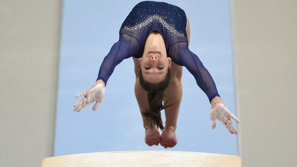 Hungary's Zsofia Kovacs performs during the Women's Vault competition of the European Artistic Gymnastics Championships 2016 in Bern, Switzerland on June 5, 2016. / AFP PHOTO / FABRICE COFFRINI