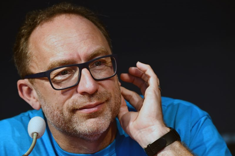 Jimmy Wales, co-founder and promoter of the online non-profit encyclopedia Wikipedia, attends the Wikimania 2016 meeting at Esino Lario near Lecco on June 24, 2016.  / AFP PHOTO / GIUSEPPE CACACE