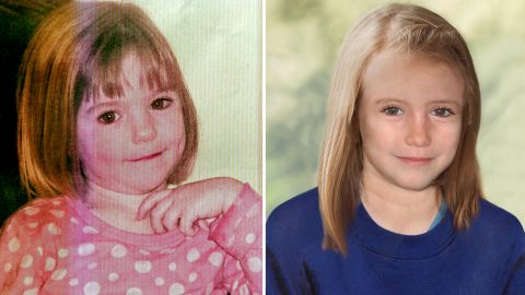 """A combination of images created on April 25, 2012 shows an undated handout picture of missing British girl Madeleine McCann taken when she was three years-old (L) and a computer generated handout image released by the Metropolitan Police Service (MPS) on April 25, 2012 showing an age progression picture of how police believe Madeleine would look like today (R), aged 9. The age progression image was created in close collaboration with the family and is being released ahead of the fifth anniversary of her disappearance on 3 May.  Madeleine McCann went missing in 2007 while on holiday with her parents in a resort on the Algarve. RESTRICTED TO EDITORIAL USE - MANDATORY CREDIT  """" AFP PHOTO / METROPOLITAN POLICE SERVICE / TERI BLYTHE """"  -  NO MARKETING NO ADVERTISING CAMPAIGNS   -   DISTRIBUTED AS A SERVICE TO CLIENTS / AFP PHOTO / METROPOLITAN POLICE SERVICE / TERI BLYTHE"""