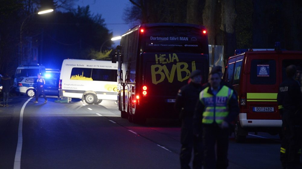 The bus of Borussia Dortmund was damaged by explosion some 10km away from the stadium prior to the UEFA Champions League 1st leg quarter-final football match BVB Borussia Dortmund v Monaco in Dortmund, western Germany on April 11, 2017. / AFP PHOTO / Sascha Schuermann
