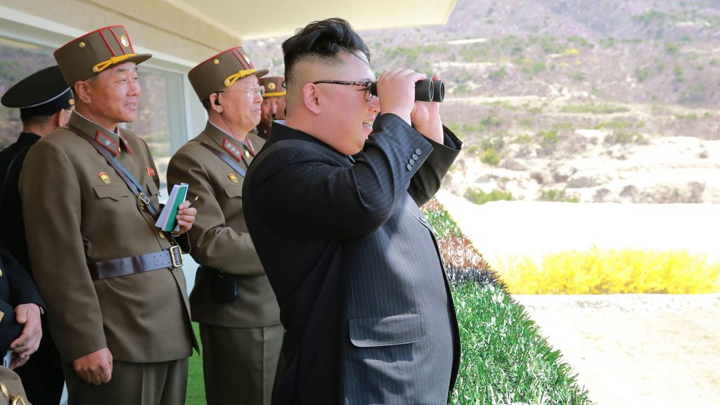 "This undated picture released from North Korea's official Korean Central News Agency (KCNA) on April 14, 2017 shows North Korean leader Kim Jong-Un (C) inspecting the ""Dropping and Target-striking Contest of KPA Special Operation Forces - 2017"" at an undisclosed location in North Korea. North Korean leader Kim Jong-Un has overseen a special forces commando operation, state media said on April 13, as tensions soar with Washington over Pyongyang's nuclear programme. / AFP PHOTO / KCNA VIA KNS / STR / South Korea OUT / REPUBLIC OF KOREA OUT   ---EDITORS NOTE--- RESTRICTED TO EDITORIAL USE - MANDATORY CREDIT ""AFP PHOTO/KCNA VIA KNS"" - NO MARKETING NO ADVERTISING CAMPAIGNS - DISTRIBUTED AS A SERVICE TO CLIENTS THIS PICTURE WAS MADE AVAILABLE BY A THIRD PARTY. AFP CAN NOT INDEPENDENTLY VERIFY THE AUTHENTICITY, LOCATION, DATE AND CONTENT OF THIS IMAGE. THIS PHOTO IS DISTRIBUTED EXACTLY AS RECEIVED BY AFP.  /"