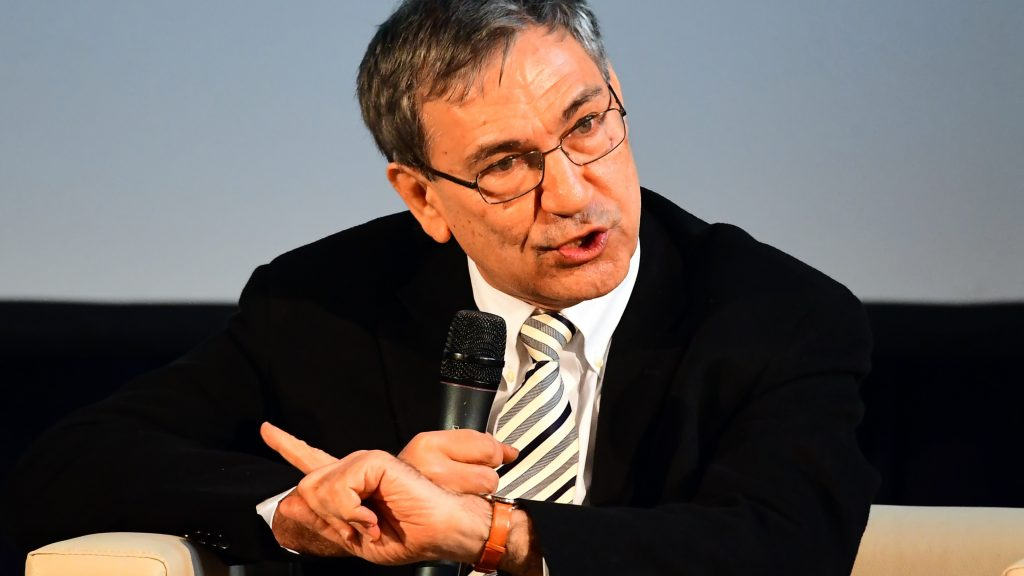 The main guest of the 24th Budapest International Book Festival (IBF), Nobel-prize winner, Turkish novelist and screenwriter Orhan Pamuk answers a question at the Millenaris Culture Center of Budapest, on April 20, 2017 during a discussion about his life, books and his creed.   The festival is hosting 100 writers from 25 countries and 400 Hungarian writers, artists and scientists this year. The festival's guest-of-honor nations are Slovakia, Poland and Czech Republic,  the Hungary's partners of Visegrads countries.  / AFP PHOTO / ATTILA KISBENEDEK