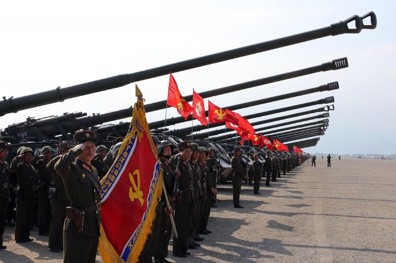 """This undated picture released by North Korea's official Korean Central News Agency (KCNA) on April 26, 2017 shows the combined fire demonstration of the services of the Korean People's Army in celebration of its 85th founding anniversary at the airport of eastern front. / AFP PHOTO / KCNA VIA KNS / STR / South Korea OUT / REPUBLIC OF KOREA OUT   ---EDITORS NOTE--- RESTRICTED TO EDITORIAL USE - MANDATORY CREDIT """"AFP PHOTO/KCNA VIA KNS"""" - NO MARKETING NO ADVERTISING CAMPAIGNS - DISTRIBUTED AS A SERVICE TO CLIENTS THIS PICTURE WAS MADE AVAILABLE BY A THIRD PARTY. AFP CAN NOT INDEPENDENTLY VERIFY THE AUTHENTICITY, LOCATION, DATE AND CONTENT OF THIS IMAGE. THIS PHOTO IS DISTRIBUTED EXACTLY AS RECEIVED BY AFP.  /"""