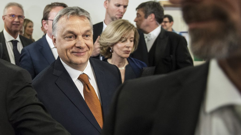 Hungarian Prime Minister Viktor Orban arrives for his speech in front of European Parliament in Brussels, Belgium on 26.04.2017 Parliament will discuss situation in Hungary by Wiktor Dabkowski | usage worldwide
