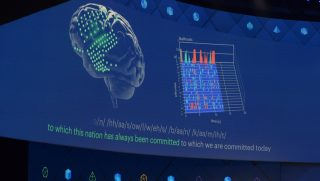 dpatop - Facebook executive Regina Dugan presents a project that would allow people to type in - with the help of sensors - words diretly from their brains into the computer, during Facebook's developer conference F8, in San Jose, California, Us, 19 April 2017. Photo: Andrej Sokolow/dpa