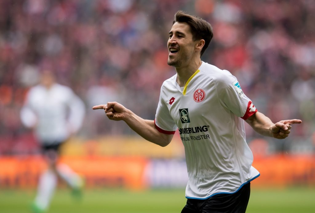 Mainz' Bojan Krkic Perez celebrates the 1-0 goal during theGerman Bundesliga soccer match between BayernMunich and FSVMainz 05 in the Allianz Arena in Munich, Germany, 22 April 2017.  (EMBARGO CONDITIONS - ATTENTION: Due to the accreditation guidelines, the DFL only permits the publication and utilisation of up to 15 pictures per match on the internet and in online media during the match.) Photo: Sven Hoppe/dpa