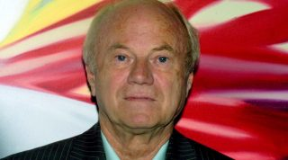 The 71-year-old US artist James Rosenquist pictured at the art museum in Wolfsburg, Germany on Thursday, 17 February 2005. The museum features an exhibition 150 works of art by Rosenquist spanning across three decades and allowing an insight into the work of a leading representative of US American Pop Art. The exhibition runs to 05 June 2005.