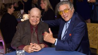 NEW YORK, NY - SEPTEMBER 15: Comedian Don Rickles and singer Tony Bennett attend the 10th Annual Exploring The Arts Gala at Radio City Music Hall on September 15, 2016 in New York City.   Larry Busacca/Getty Images for Exploring the Arts, Inc./AFP