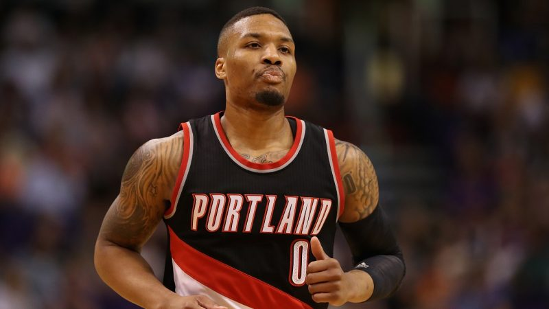 PHOENIX, AZ - MARCH 12: Damian Lillard #0 of the Portland Trail Blazers runs down court during the first half of the NBA game against the Phoenix Suns at Talking Stick Resort Arena on March 12, 2017 in Phoenix, Arizona. NOTE TO USER: User expressly acknowledges and agrees that, by downloading and or using this photograph, User is consenting to the terms and conditions of the Getty Images License Agreement.   Christian Petersen/Getty Images/AFP