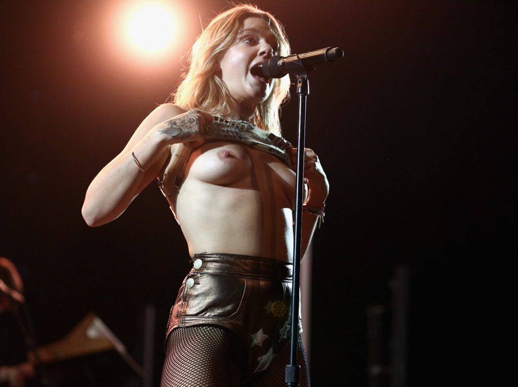 INDIO, CA - APRIL 23: (EDITOR'S NOTE: Image contains nudity.) Singer Tove Lo performs at the Mojave Tent during day 3 of the 2017 Coachella Valley Music & Arts Festival (Weekend 2) at the Empire Polo Club on April 23, 2017 in Indio, California.   Rich Fury/Getty Images for Coachella/AFP