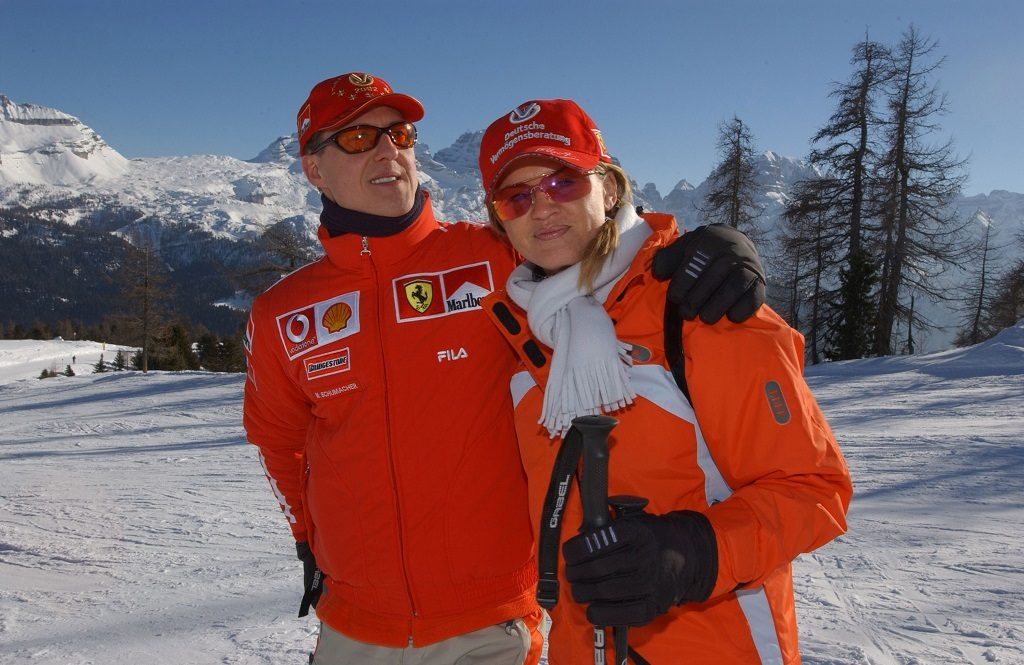 F1 SCHUMACHER IN COMA AFTER FRANCE SKI ACCIDENT - FAMILY - 2003 - MADONA DI CAMPIGLIO - PHOTO DPPI MICHAEL SCHUMACHER WITH HIS WIFE CORINA / FERRARI - AMBIANCE - PORTRAIT