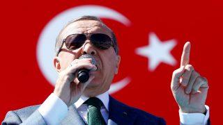 ANKARA, TURKEY - APRIL 02: Turkish President Recep Tayyip Erdogan addresses the crowd during a mass opening ceremony at Ataturk Cultural Center (AKM), in Ankara, Turkey on April 02, 2017.  Mehmet Ali Ozcan / Anadolu Agency