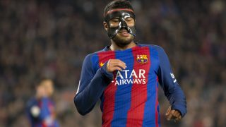 BARCELONA, SPAIN - FEBRUARY 19: Rafinha of Barcelona in action with his medical mask during the La Liga football match between FC Barcelona and CD Leganes at Camp Nou stadium on February 19, 2017 in Barcelona, Spain. Albert Llop / Anadolu Agency