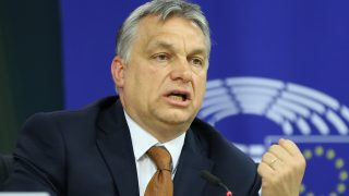 BRUSSELS, BELGIUM - APRIL 26: Hungary's Prime Minister Viktor Orban gives a speech during a press conference  after a plenary session at the European Parliament on the situation in Hungary, in Brussels, Belgium on April 26, 2017. The EU parliament heard Orban on rights record and a series of controversial decisions that has sparked concerns about possible European Union punishments against his country. Dursun Aydemir / Anadolu Agency