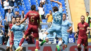 ROME, ITALY - APRIL 30: Senad Lulic (R) of SS Lazio in action against Kevin Stootman (L) of AS Roma during the Italian Serie A soccer match between AS Roma and SS Lazio at Stadio Olimpico on April 30, 2017 in Rome, Italy.      Claudio Pasquazi / Anadolu Agency