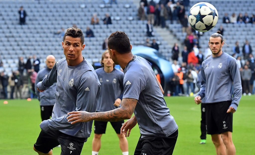 MUNICH, GERMANY - APRIL 11 : Christiano Ronaldo (L) and others attend a training session of Real Madrid ahead of the UEFA Champions League quarter final match between Bayern Munich and Real Madrid in Munich, Germany on April 11, 2017. Joerg Koch / Anadolu Agency