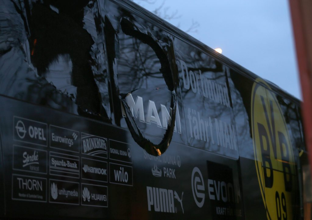 DORTMUND, GERMANY - APRIL 11 : The bus of Borussia Dortmund stands after explosions at the hotel L'Arrivee in Germany on April 11, 2017.  The UEFA Champions League quarter-final soccer match between Borussia Dortmund and AS Monaco has been postponed after an explosions near the bus carrying the Dortmund team, injuring one player. INA FASSBENDER / Anadolu Agency
