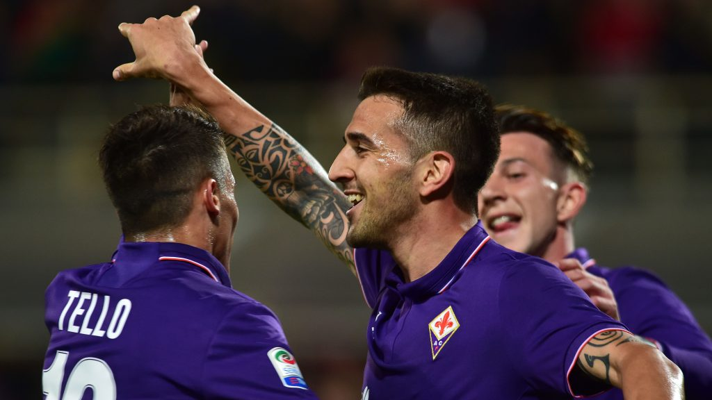 FLORENCE, ITALY - APRIL 22 :  Matias Vecino (8) of ACF Fiorentina celebrates after scoring a goal during the Serie A match between ACF Fiorentina v FC Internazionale at Stadio Artemio Franchi in Florence, Italy on April 22, 2017. Carlo Bressan / Anadolu Agency