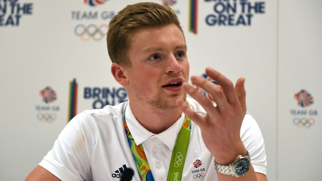 LONDON, UNITED KINGDOM - AUGUST 23 : Adam Peaty speaks to the press as Team GB Athletes arrive back from Rio and hold a press conference at the Sofitel Hotel Heathrow Terminal 5, in London, United Kingdom on August 23, 2016. Kate Green / Anadolu Agency