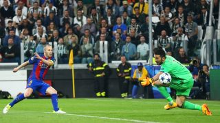 Gianluigi Buffon of Juventus saving on Andrs Iniesta of FC Barcelona during the UEFA Champions League Quarter Final first leg match between Juventus and FC Barcelona at Juventus Stadium on April 11, 2017 in Turin, Italy. (Photo by Matteo Ciambelli/NurPhoto)