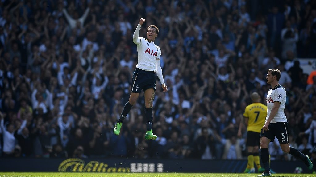 Tottenham Hotspur's English midfielder Dele Alli celebrates scoring his team's first goal during the English Premier League football match between Tottenham Hotspur and Watford at White Hart Lane in London, on April 8, 2017. / AFP PHOTO / Justin TALLIS / RESTRICTED TO EDITORIAL USE. No use with unauthorized audio, video, data, fixture lists, club/league logos or 'live' services. Online in-match use limited to 75 images, no video emulation. No use in betting, games or single club/league/player publications.  /