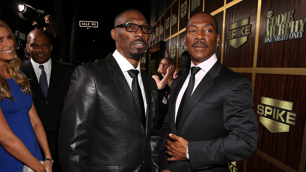 "BEVERLY HILLS, CA - NOVEMBER 03: (L-R) Actor Charlie Murphy and honoree Eddie Murphy arrive at Spike TV's ""Eddie Murphy: One Night Only"" at the Saban Theatre on November 3, 2012 in Beverly Hills, California.   Christopher Polk/Getty Images/AFP"