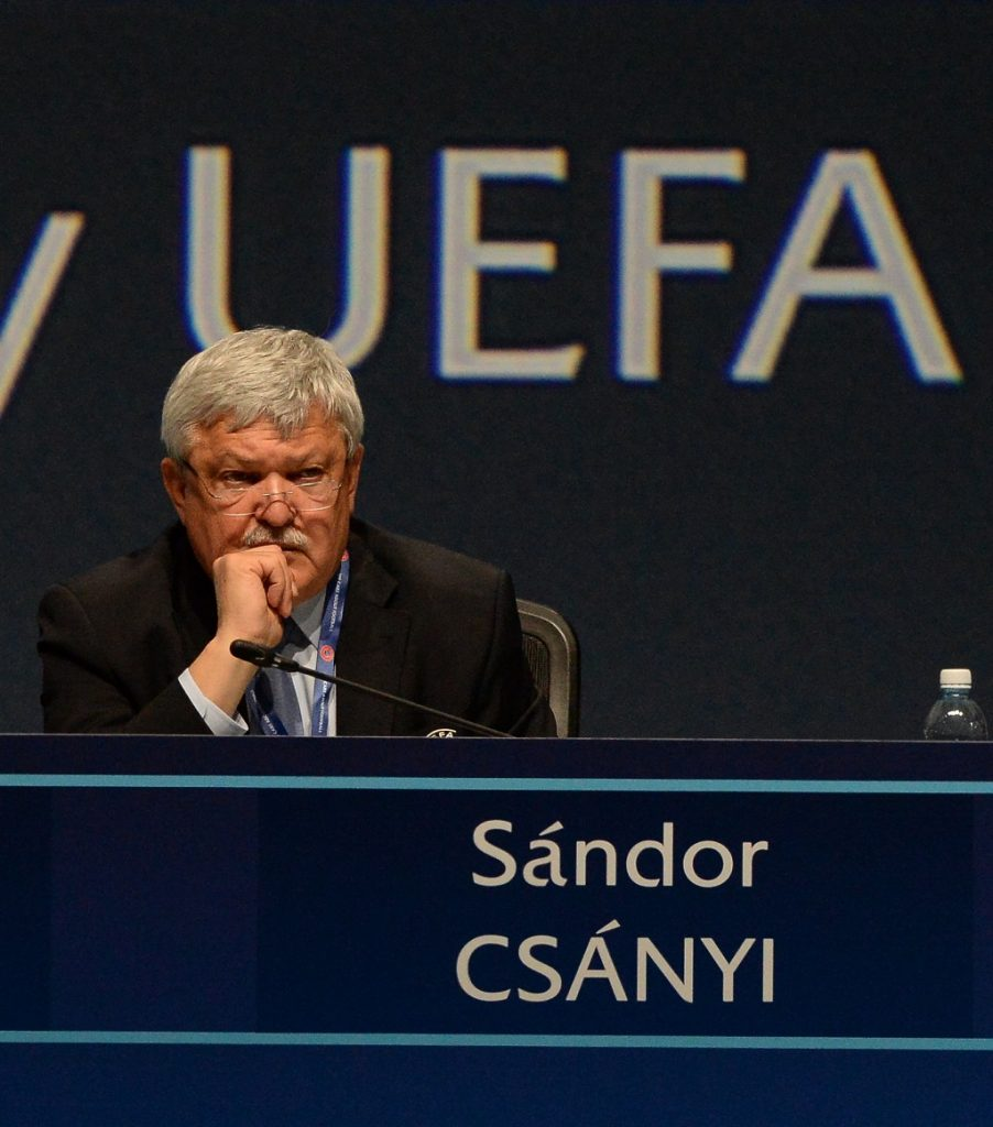 HELSINKI, FINLAND - APRIL 05: Sandor Csyani, Hungary, during the 41st Ordinary UEFA Congress on April 5, 2017 in Helsinki, Finland. (Photo by Paul Murphy - UEFA/UEFA via Getty Images)