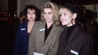 28th October 1985:  Pop group Bananarama at the 'Women of the Year' luncheon at the Savoy Hotel, London. Left to right; Keren Woodward, Sarah Dallin and Siobhan Fahey.  (Photo by Hulton Archive/Getty Images)