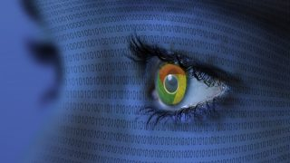 Eye of a woman in closeup, computer numerical series with Google logo in her eye, Germany