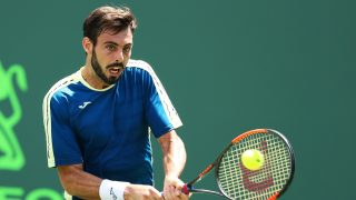 KEY BISCAYNE, DE - MARCH 23: Marcel Granollers of Spain returns a shot to Borna Coric of Croatia during Day 4 of the Miami Open at Crandon Park Tennis Center on March 23, 2017 in Key Biscayne, Florida.   Al Bello/Getty Images/AFP