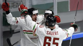 Hungarian players celebrate a goal during the group B preliminary round game Germany vs Hungary at the 2016 IIHF Ice Hockey World Championship in Saint Petersburg on May 16, 2016. / AFP PHOTO / ALEXANDER NEMENOV