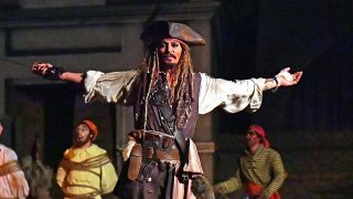 "EXCLUSIVE: ActorJohnny Depp stunned fans on the Pirates of the Caribbean ride at Disneyland last night (wed) - by making a surprise appearance dressed as Captain Jack Sparrow. The legendary actor wore his trademark Pirate outfit as he shocked delighted theme park guests as they sailed past him in boats. One onlooker told E! News: ""Everyone was surprised, shocked and excited to see him. He acted exactly like his character in the movies. Johnny could be heard speaking in his trademark Jack Sparrow accent and waving a sword as visitors to the resort in Anaheim, CA, laughed and looked on. The star's appearance came as he gets ready to appear in the fifth installment of the blockbuster franchise: 'Pirates of the Caribbean: Dead Men Tell No Tales'. 26 Apr 2017 Pictured: Johnny Depp. Photo credit: Snorlax / MEGA  TheMegaAgency.com +1 888 505 6342"