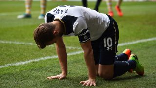 Tottenham Hotspur's English striker Harry Kane reacts after being tackled by Millwall's English defender Jake Cooper (unseen) during the English FA Cup quarter-final football match between Tottenham Hotspur and Millwall at White Hart Lane in London, on March 12, 2017. / AFP PHOTO / Glyn KIRK / RESTRICTED TO EDITORIAL USE. No use with unauthorized audio, video, data, fixture lists, club/league logos or 'live' services. Online in-match use limited to 75 images, no video emulation. No use in betting, games or single club/league/player publications.  /