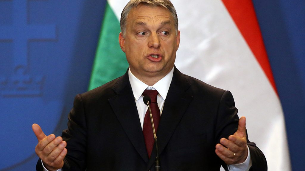 BUDAPEST, HUNGARY - FEBRUARY 02: (RUSSIA OUT) Hungarian Prime Minister Viktor Orban speaks during his joint press conference with Russian President Vladimir Putin (not pictured) February 2, 2017 in Budapest, Hungary.  Vladimir Putin is having a one-day visit to Hungary. (Photo by Mikhail Svetlov/Getty Images)