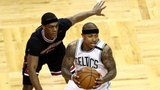 BOSTON, MA - APRIL 16: Rajon Rondo #9 of the Chicago Bulls defends Isaiah Thomas #4 of the Boston Celtics during the third quarter of Game One of the Eastern Conference Quarterfinals at TD Garden on April 16, 2017 in Boston, Massachusetts. NOTE TO USER: User expressly acknowledges and agrees that, by downloading and or using this Photograph, user is consenting to the terms and conditions of the Getty Images License Agreement.   Maddie Meyer/Getty Images/AFP