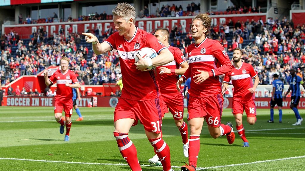 BRIDGEVIEW, IL - APRIL 01: Bastian Schweinsteiger #31 of Chicago Fire celebrates after scoring a goal in the first half against the Montreal Impact during an MLS match at Toyota Park on April 1, 2017 in Bridgeview, Illinois.   Dylan Buell/Getty Images/AFP