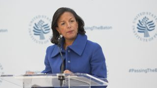 Ambassador Susan Rice, National Security Advisor speaks during a conference on the transition of the US Presidency from Barack Obama to Donald Trump at the US Institute Of Peace in Washington DC, January 10, 2017.  / AFP PHOTO / CHRIS KLEPONIS
