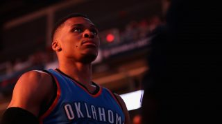 PHOENIX, AZ - MARCH 03: Russell Westbrook #0 of the Oklahoma City Thunder stands on the court before the NBA game against the Phoenix Suns at Talking Stick Resort Arena on March 3, 2017 in Phoenix, Arizona. NOTE TO USER: User expressly acknowledges and agrees that, by downloading and or using this photograph, User is consenting to the terms and conditions of the Getty Images License Agreement.   Christian Petersen/Getty Images/AFP