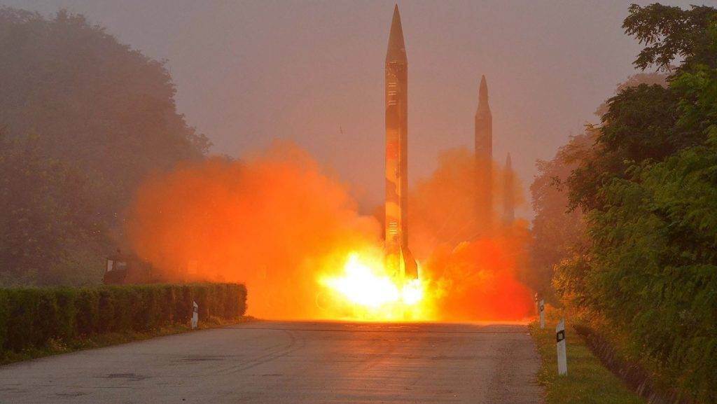 This undated photo released by North Korea's official Korean Central News Agency (KCNA) on July 21, 2016 shows a missile fired during a drill by Hwasong artillery units of the Strategic Force of the Korean People's Army. North Korea said on July 20 its latest ballistic missile tests trialled detonation devices for possible nuclear strikes on US targets in South Korea and were personally monitored by supreme leader Kim Jong-Un. / AFP PHOTO / KCNA VIA KNS / KCNA