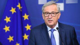 """(FILES) This file photo taken on April 06, 2017 shows European Commission President Jean-Claude Juncker during a press conference after meeting with Swiss President at the European Commission in Brussels on April 6, 2017. European Commission President Jean-Claude Juncker on May 5, 2017 described Brexit as a """"tragedy"""" that had happened partly as a result of the European Union's past mistakes. / AFP PHOTO / EMMANUEL DUNAND"""