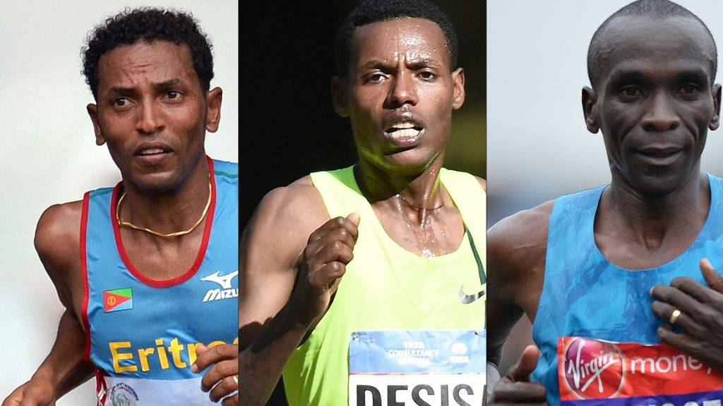 (COMBO) This combination of pictures created on May 5, 2017 shows Eritrea's Zersenay Tadese (L) competing during the half marathon final event in the 11th Africa Games in Brazzaville on September  17, 2015, Ethiopia's Lelisa Desisa (C) running in the New York City Marathon on November 2, 2014 and Kenyan elite runner Eliud Kipchoge competing during the 2015 London Marathon in central London on April 26, 2015. The theree elite runners backed by a small army of scientists will on May 6, 2017 attempt to run a marathon in less than two hours during an event organized by sport brand Nike at Monza racing track. Reigning Olympic marathon champion Eliud Kipchoge from Kenya, Ethiopia's Lelisa Desisa and Eritrea's Zersenay Tadese will aim to complete the classic marathon distance of 26.2 miles (42.195 kilometres) in 1hr 59min 59 sec or faster on a fixed loop at the Monza National Autodrome racing circuit in Italy  / AFP PHOTO