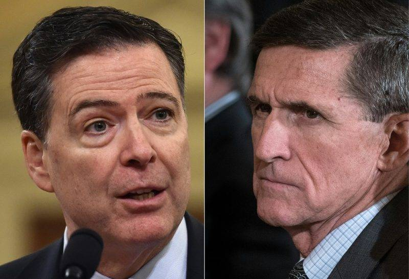 (COMBO) This combination of pictures created on May 16, 2017 shows a file photo from March 20, 2017, of FBI Director James Comey (L) in Washington, DC; and a file photo from February 13, 2017, of US National Security Advisor Michael Flynn in the East Room of the White House in Washington, DC.  US President Donald Trump asked former FBI director Comey to drop an investigation of his national security advisor Michael Flynn, the New York Times reported on May 16, 2017. In an explosive new report that was immediately denied by the Trump administration, the Times said Comey met the president in the White House on February 14, later summing up their discussion of Flynn in a memo.  / AFP PHOTO / Nicholas Kamm AND MANDEL NGAN