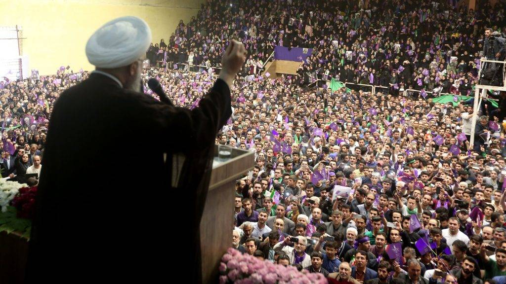 Iranian President and candidate in the upcoming presidential elections Hassan Rouhani speaks during a campaign rally in the northwestern city of Ardabil on May 17, 2017.  Iran's presidential election on May 19 is effectively a choice between moderate incumbent Hassan Rouhani and hardline jurist Ebrahim Raisi, with major implications for everything from civil rights to relations with Washington. / AFP PHOTO / Behrouz MEHRI
